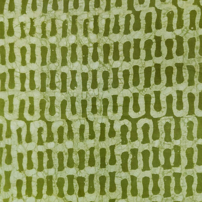 Pure Cotton Dabu Mehendi Green With Tiny Bricks Hand Block Print Blouse Fabric (1.25 METER)