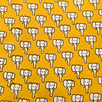 Pure Cotton Dabu Mustard With Cream Baby Elephant Hand Block Print Fabric