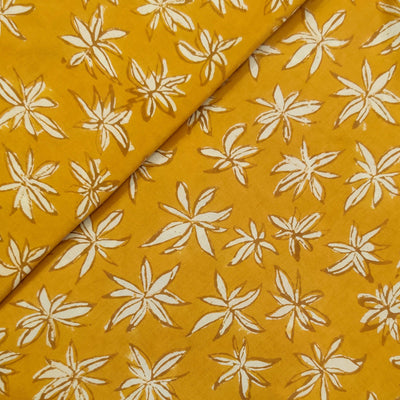 Pure Cotton Dabu Mustard With Cream Flower Hand Block Print Fabric