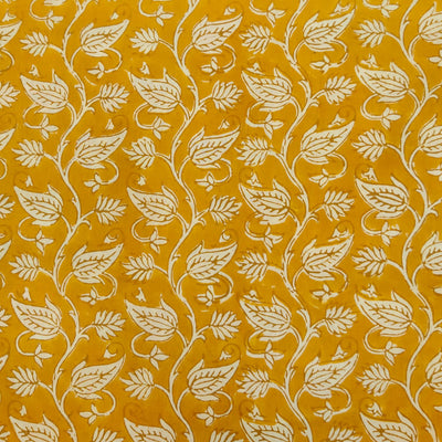 Pure Cotton Dabu Mustard With Cream Leafy Jaal Hand Block Print Fabric