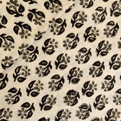 Pure Cotton Dabu Paperwhite With Tiny Flower Hand Block Print Fabric