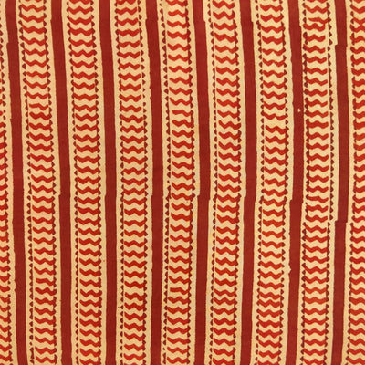 Pure Cotton Dabu Peachy Brown With Tiny Waves Stripes Hand Block Print Fabric