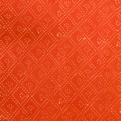 Pure Cotton Dabu Peachy Orange With Diagonal Dot Checks Had Block Print Fabric