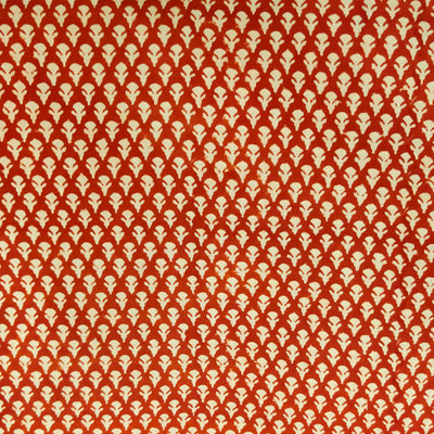 Pure Cotton Dabu Rust With Tiny Beige Motifs Hand Block Print Fabric