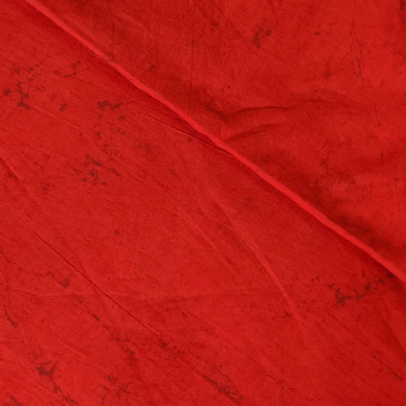 Pure Cotton Dabu Rustic Red Textured Fabric