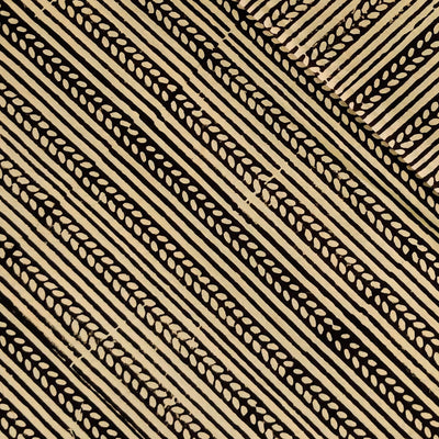 Pure Cotton Dabu With Black Tribal Stripes Hand bLock Print Fabric
