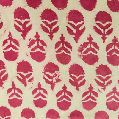 Pure Cotton Dabu With Mauve Motif Hand Block Print Fabric