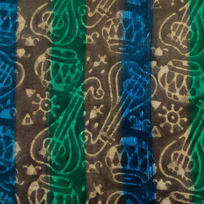 Pure Cotton Dabu With Musical Instrument And Blue And Green Brush Strokes Hand Block Print Fabric