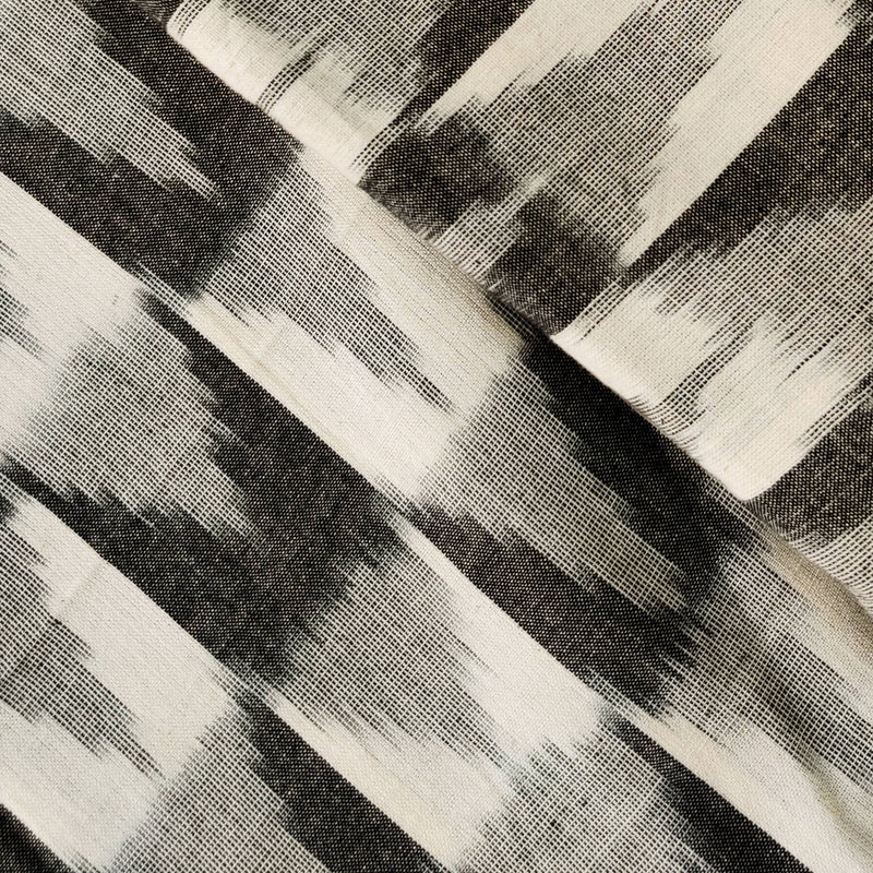 Pure Cotton Special Double Ikkat Dark And Light Grey With Triangles Geometric Weave Woven Fabric