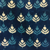 Pure Cotton Dark Indigo With Plant Motif Hand Block Print Blouse Fabric (1.25 Meter)