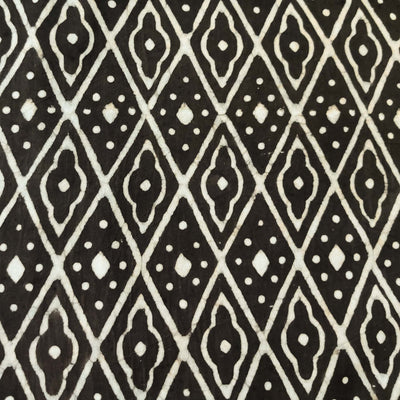 Pure Cotton Dark Kashish With Diamond Geometric Pattern Hand Block Print Fabric