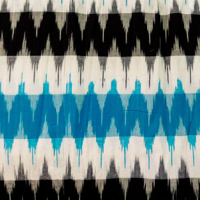 Pure Cotton Double Ikkat With Black Blue Weaves Woven Fabric