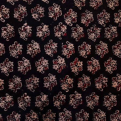 Pure Cotton Dull Black Ajrak With Flower Shrub Motif Hand Block Print Fabric