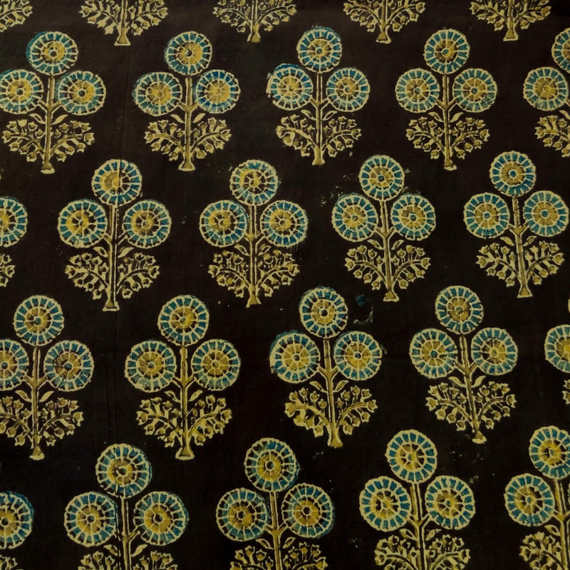 Pure Cotton Dull Brownish Black Ajrak With Tiny Dahlia Plant Motif Hand Block Print Blouse Piece Fabric ( 1 Meter )