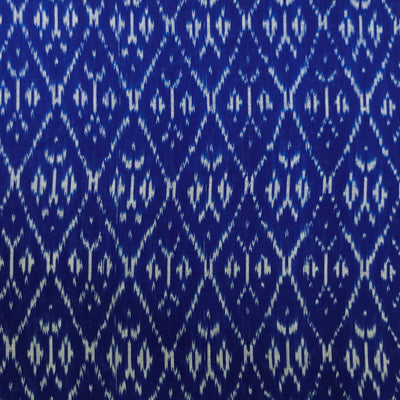 Pure Cotton Fine Blue Mercerised Ikkat With Grey Double Comb Weaves Woven Fabric