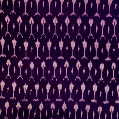 Pure Cotton Fine Deep Purple Mercerised Ikkat With Plant Weave Motifs Woven Fabric