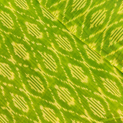 Pure Cotton Fine Greenish Yellow Mercerised Ikkat With Honey Comb Weave Motifs Woven Fabric