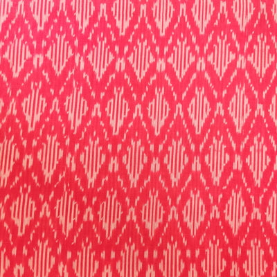 Pure Cotton Fine Pink Mercerised Ikkat With Honey Comb Weave Motifs Woven Fabric
