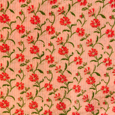 Pure Cotton Flamingo Pink Kaatha With A Floral Jaal Fabric