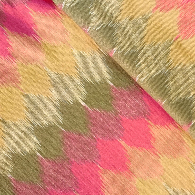 Pure Cotton Flex With Shades Of Pink And Grey Ikkat Print Fabric