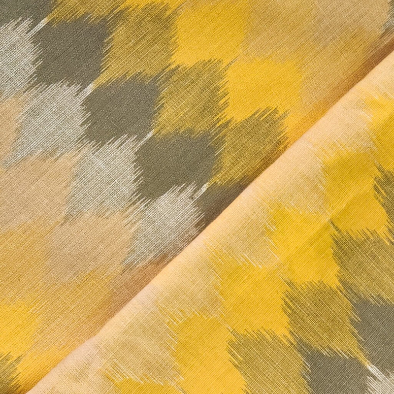 Pure Cotton Flex With Shades Of Yellow And Grey Ikkat Print Fabric