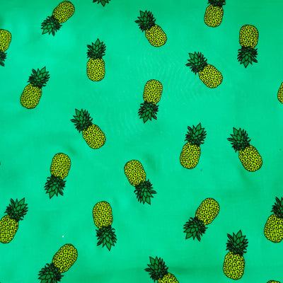 Pure Cotton Green Rayon With Tiny Pineapple Screen Print Fabric