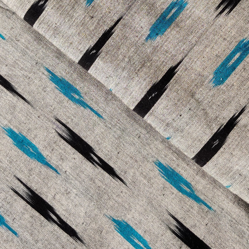 Pure Cotton Grey Ikkat With Black And Blue Weaves Woven Fabric