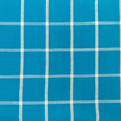 Pure Cotton Handloom Blue With White Checks Woven Fabric