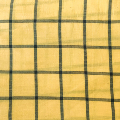 Pure Cotton Handloom Cream With Grey Checks Woven Fabric