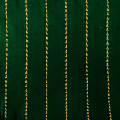 Pure Cotton Handloom Green With Zari Arrow Head Spaced Out Weaves Stripes Woven Fabric