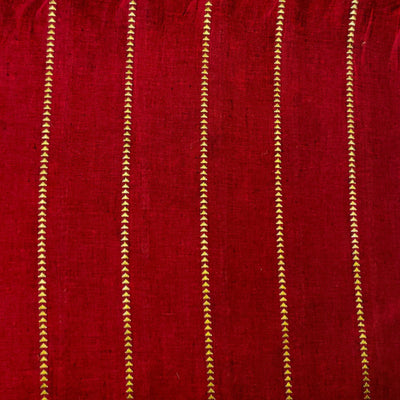 Pure Cotton Handloom Maroon With Zari Arrow Head Spaced Out Weaves Stripes Woven Fabric