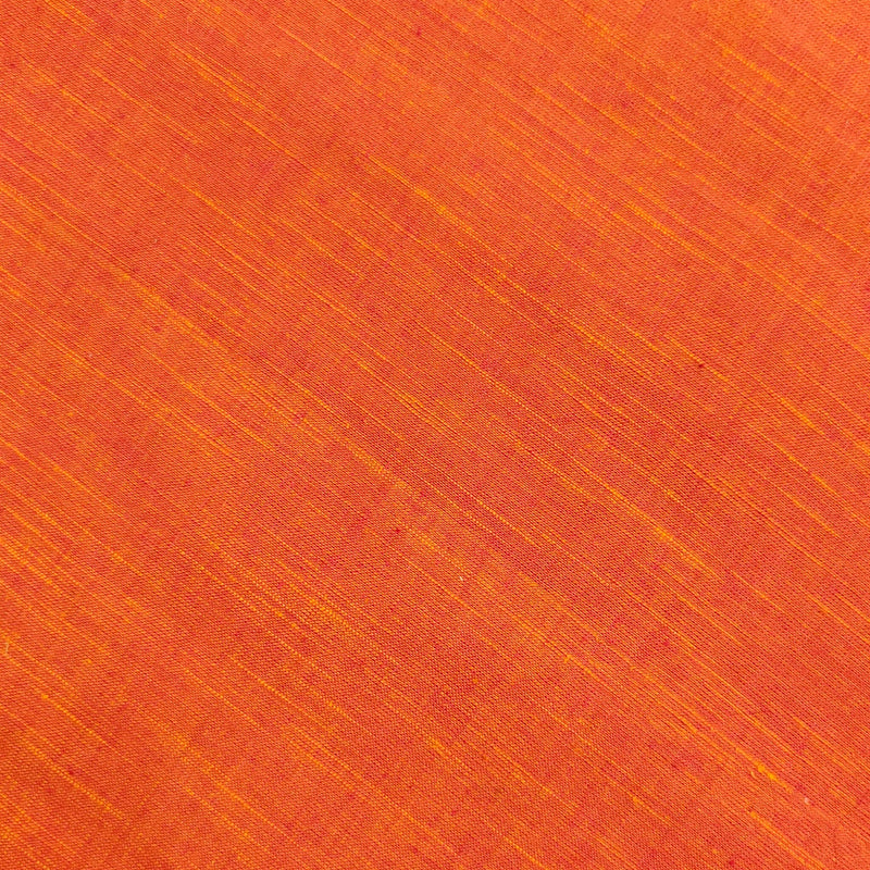 Pure Cotton Handloom Reddish Peach With Slub Hand Woven Fabric