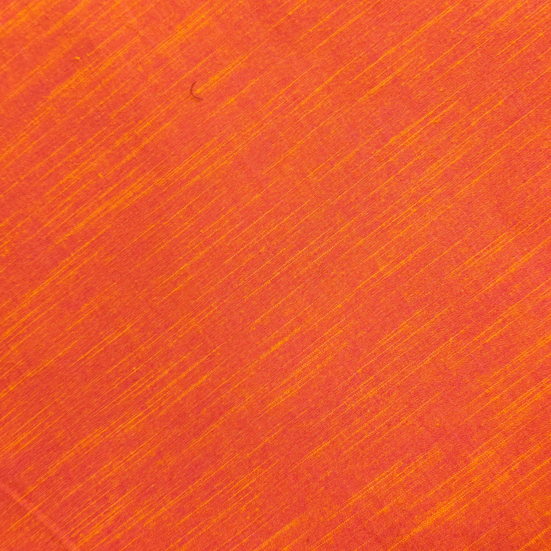 Pure Cotton Handloom Reddish Peach With Yellow Slub Hand Woven Fabric