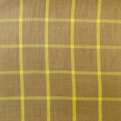 Pure Cotton Handloom South Cotton Sandy Brown With Yellow Checks Woven Fabric