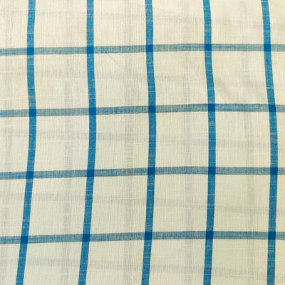 Pure Cotton Handloom South Cotton White With Blue Checks Woven Fabric