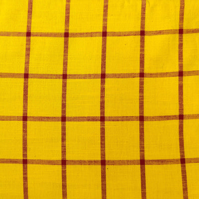 Pure Cotton Handloom South Cotton Yellow With Maroon Checks Woven Fabric
