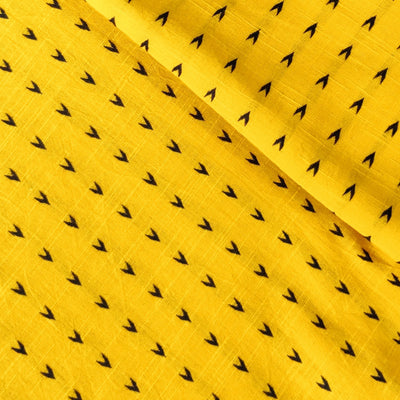 Pure Cotton Handloom Yellow With Black Arrow Head Woven Fabric