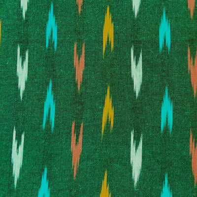 Pure Cotton Ikkat Green With Mustard Grey And Peach Arrow Heads Woven Fabric