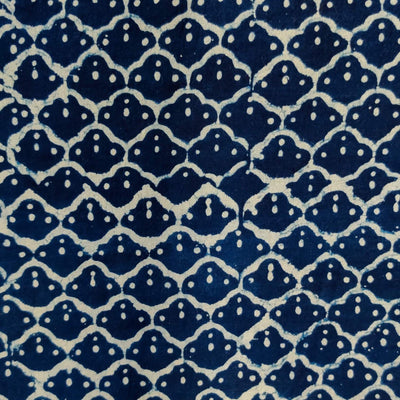 Pure Cotton Indigo With A Jaali Hand Block Print Blouse Fabric ( 1 Meter )