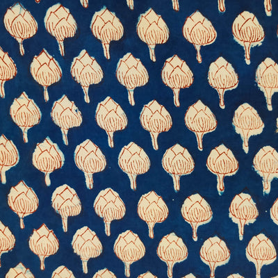 Pure Cotton Indigo With Flower Bud Hand Block Print Fabric