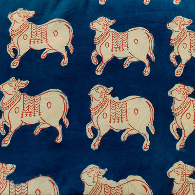 Pure Cotton Indigo With Red And Cream Moo Print Hand Block Print Fabric