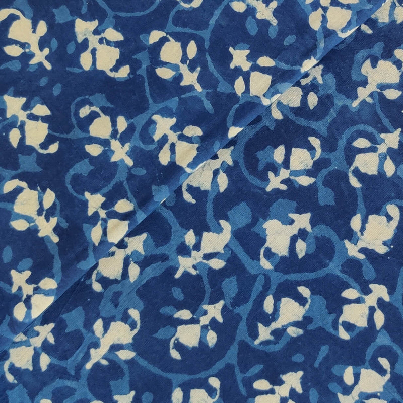 Pure Cotton Indigo With Self Jaal And Tiny Self Motif Hand Block Print Fabric