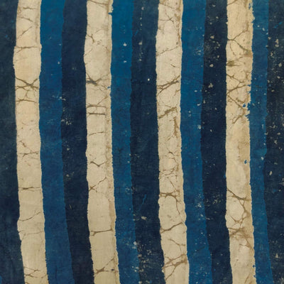 Pure Cotton Indigo With Shades Of Blue And Light Kashish Big Stripes Hand Block Print Blouse Fabric ( 1.25 Meter )