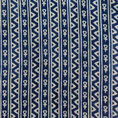 Pure Cotton Indigo With Tribal Stripes Hand Block Print Fabric