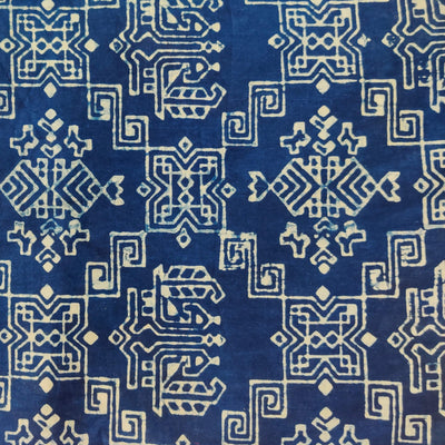 Pure Cotton Indigo With Vedic Geometry Hand Block Print Fabric