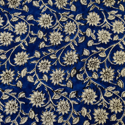 Pure Cotton Ink Blue Jaipuri With Small White Flower Curvy Jaal Hand Block Print Fabric
