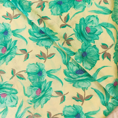 Pure Cotton Ivory With Light Blue Roses Screen Print Fabric