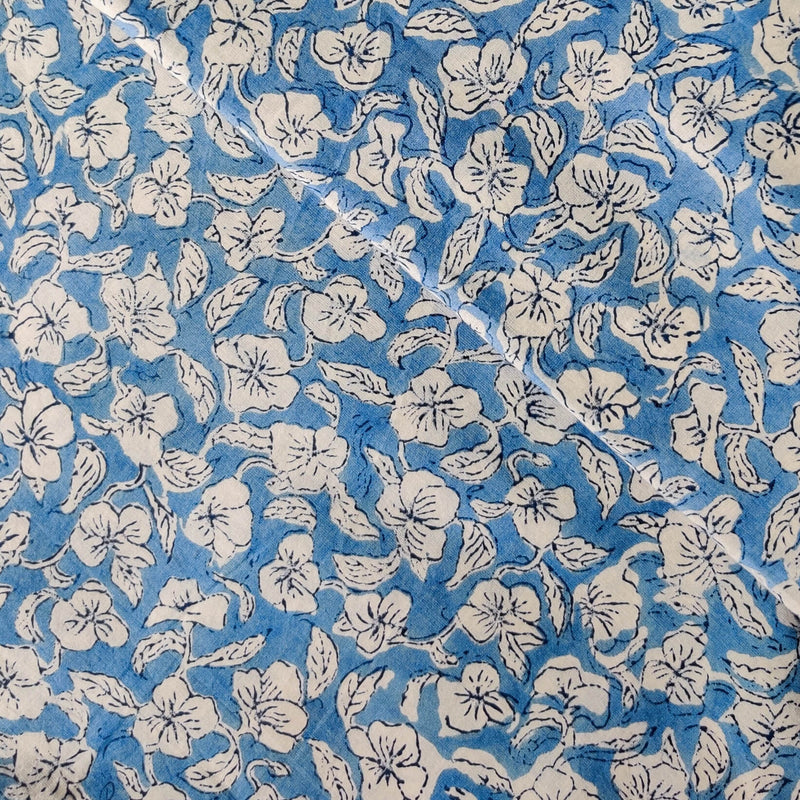 Pure Cotton Jaipuri Baby Blue With Small White Flower Jaal hand Block Print Fabric