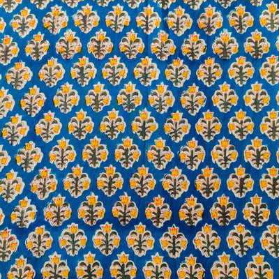 Pure Cotton Jaipuri Blue With Tiny Yellow Flower Motif Hand Block Print Blouse Fabric ( 1.16 Meter )