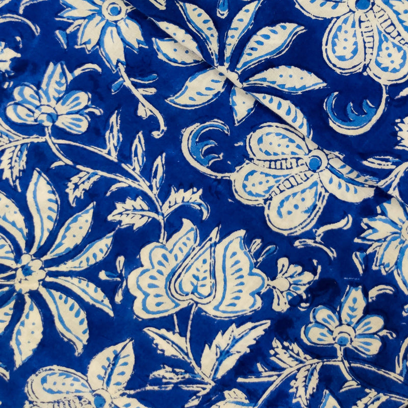 Pure Cotton Jaipuri Blue With White Flower Jaal Hand Block Print Fabric